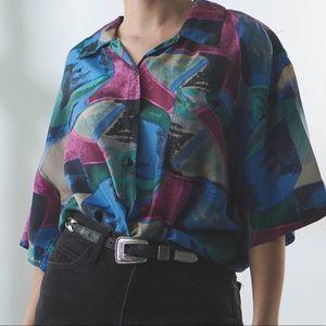 Vintage Silk Button Down Shirt